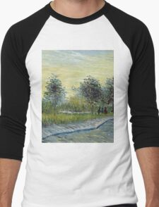 Vincent Van Gogh - Square Saint-Pierre At Sunset. Garden landscape: garden view, trees and flowers, blossom, nature, botanical park, floral flora, wonderful flowers, plants, cute plant, garden, flower Men's Baseball ¾ T-Shirt
