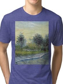 Vincent Van Gogh - Square Saint-Pierre At Sunset. Garden landscape: garden view, trees and flowers, blossom, nature, botanical park, floral flora, wonderful flowers, plants, cute plant, garden, flower Tri-blend T-Shirt