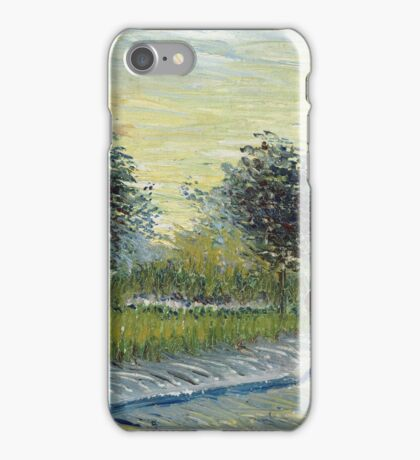 Vincent Van Gogh - Square Saint-Pierre At Sunset. Garden landscape: garden view, trees and flowers, blossom, nature, botanical park, floral flora, wonderful flowers, plants, cute plant, garden, flower iPhone Case/Skin
