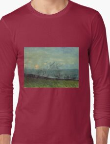 Vincent Van Gogh - Sunset In Montmartre. Urban landscape: city view, streets, building, house, trees, cityscape, architecture, construction, travel landmarks, panorama garden, buildings Long Sleeve T-Shirt