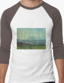 Vincent Van Gogh - Sunset In Montmartre. Urban landscape: city view, streets, building, house, trees, cityscape, architecture, construction, travel landmarks, panorama garden, buildings Men's Baseball ¾ T-Shirt