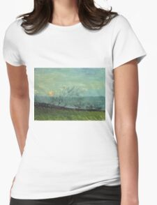 Vincent Van Gogh - Sunset In Montmartre. Urban landscape: city view, streets, building, house, trees, cityscape, architecture, construction, travel landmarks, panorama garden, buildings Womens Fitted T-Shirt