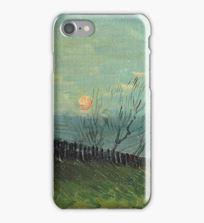 Vincent Van Gogh - Sunset In Montmartre. Urban landscape: city view, streets, building, house, trees, cityscape, architecture, construction, travel landmarks, panorama garden, buildings iPhone Case/Skin
