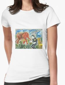 Michael Jackson's Zoo: Sergei Lefert's drawing Womens Fitted T-Shirt