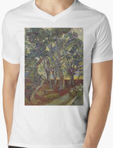 Vincent Van Gogh - The Garden Of Saint Paul S Hospital. Garden landscape: trees and flowers, blossom, nature, botanical park, floral flora, wonderful flowers, plants, cute plant, garden, flower Mens V-Neck T-Shirt