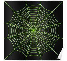 Neon green spider web Poster