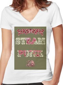 Steam Punk Women's Fitted V-Neck T-Shirt