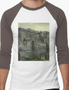 Vincent Van Gogh - View From Vincent S Studio. House landscape: city view, streets, building, little house, church, cityscape, architecture, construction, travel landmarks, panorama garden, buildings Men's Baseball ¾ T-Shirt