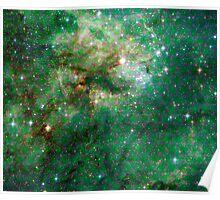 Tarantula Nebula Metatron's Cube Pattern Overlay [Green] Poster