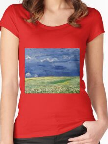 Vincent Van Gogh - Wheatfield Under Thunderclouds. Field landscape: field landscape, nature, village, garden, flowers, trees, sun, rustic, countryside, sky and clouds, summer Women's Fitted Scoop T-Shirt