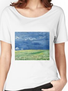 Vincent Van Gogh - Wheatfield Under Thunderclouds. Field landscape: field landscape, nature, village, garden, flowers, trees, sun, rustic, countryside, sky and clouds, summer Women's Relaxed Fit T-Shirt