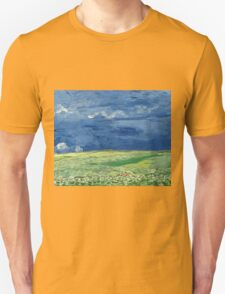 Vincent Van Gogh - Wheatfield Under Thunderclouds. Field landscape: field landscape, nature, village, garden, flowers, trees, sun, rustic, countryside, sky and clouds, summer Unisex T-Shirt