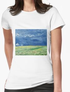 Vincent Van Gogh - Wheatfield Under Thunderclouds. Field landscape: field landscape, nature, village, garden, flowers, trees, sun, rustic, countryside, sky and clouds, summer Womens Fitted T-Shirt