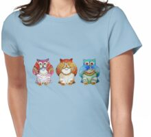 Three wise owls Womens Fitted T-Shirt
