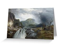 Thomas Moran - The Wilds Of Lake Superior. Mountains landscape: mountains, rocks, rocky nature, sky and clouds, trees, peak, forest, rustic, hill, travel, hillside Greeting Card
