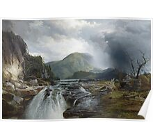 Thomas Moran - The Wilds Of Lake Superior. Mountains landscape: mountains, rocks, rocky nature, sky and clouds, trees, peak, forest, rustic, hill, travel, hillside Poster