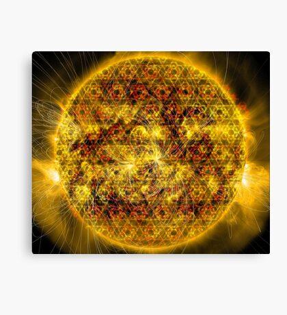 Three Magnetic Suns [Metatron's Cube Overlay] Canvas Print