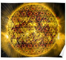 Three Magnetic Suns [Metatron's Cube Overlay] Poster