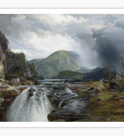 Thomas Moran - The Wilds Of Lake Superior. Mountains landscape: mountains, rocks, rocky nature, sky and clouds, trees, peak, forest, rustic, hill, travel, hillside Sticker