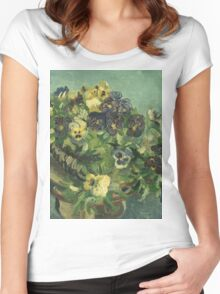 Vincent Van Gogh - Basket Of Pansies. Still life with flowers: flowers, blossom, nature, botanical, floral flora, wonderful flower, plants, cute plant for kitchen interior, garden, vase Women's Fitted Scoop T-Shirt