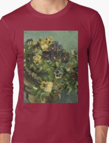 Vincent Van Gogh - Basket Of Pansies. Still life with flowers: flowers, blossom, nature, botanical, floral flora, wonderful flower, plants, cute plant for kitchen interior, garden, vase Long Sleeve T-Shirt