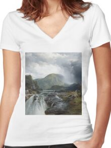 Thomas Moran - The Wilds Of Lake Superior. Mountains landscape: mountains, rocks, rocky nature, sky and clouds, trees, peak, forest, rustic, hill, travel, hillside Women's Fitted V-Neck T-Shirt