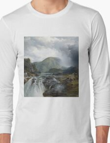 Thomas Moran - The Wilds Of Lake Superior. Mountains landscape: mountains, rocks, rocky nature, sky and clouds, trees, peak, forest, rustic, hill, travel, hillside Long Sleeve T-Shirt