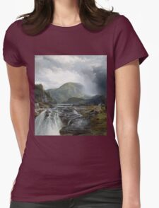 Thomas Moran - The Wilds Of Lake Superior. Mountains landscape: mountains, rocks, rocky nature, sky and clouds, trees, peak, forest, rustic, hill, travel, hillside Womens Fitted T-Shirt