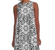 Hexagob Star Black and White Pattern A-Line Dress