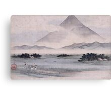 Utagawa Hiroshige - Fuji Marsh, Suruga Province, From Twelve Views Of Mt. Fuji. Mountains landscape Canvas Print