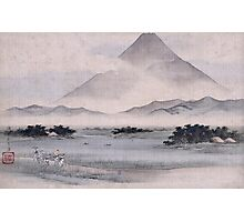 Utagawa Hiroshige - Fuji Marsh, Suruga Province, From Twelve Views Of Mt. Fuji. Mountains landscape: mountains, rocks, rocky nature, sky and clouds, trees, peak, forest, rustic, hill, travel, hillside Photographic Print