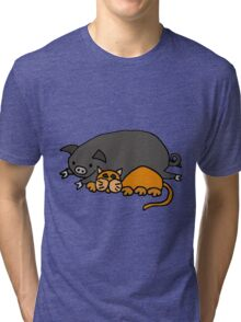 Cool Funny orange Cat with Pot-Bellied Pig Tri-blend T-Shirt