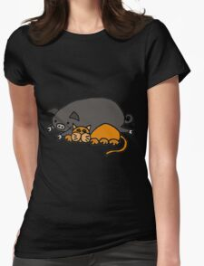 Cool Funny orange Cat with Pot-Bellied Pig Womens Fitted T-Shirt