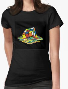 Melting Rubix Cube Womens Fitted T-Shirt