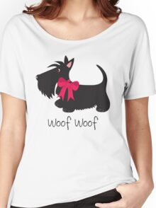 Woof Woof Scottie Dog Women's Relaxed Fit T-Shirt