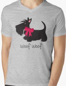 Woof Woof Scottie Dog Mens V-Neck T-Shirt