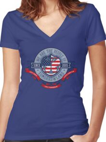 People of Tomorrowland Vintage Flags logo - USA Women's Fitted V-Neck T-Shirt