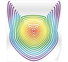 The Rainbow Lined Cat Poster
