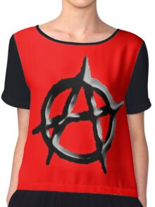 ANARCHY, ANARCHIST, Revolution, Protest, Disorder, Unrest, Symbol on red in black Chiffon Top