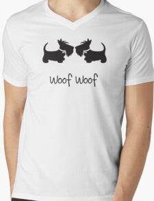 Double Scottie – Woof Woof Mens V-Neck T-Shirt