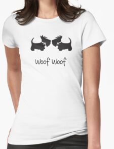 Double Scottie – Woof Woof Womens Fitted T-Shirt