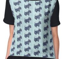 Scottie watercolour (blue) Chiffon Top