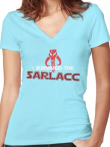 I Survived the Sarlacc Women's Fitted V-Neck T-Shirt