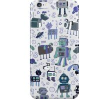 Robots in Space - blue and grey iPhone Case/Skin