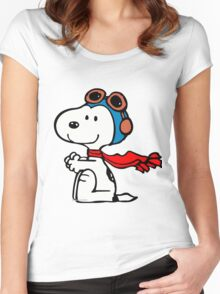 1snoopy shit down Women's Fitted Scoop T-Shirt