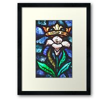 Lilly, Crown, Stained Glass, Window, Tossa del Mar, Spain, Spanish Framed Print