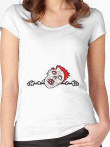 wand mauer klettern schild harmen text schreiben gesicht horror halloween kopf zombie böse gruselig cartoon  Women's Fitted Scoop T-Shirt