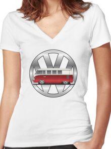Slammed Red and White Transporter Women's Fitted V-Neck T-Shirt