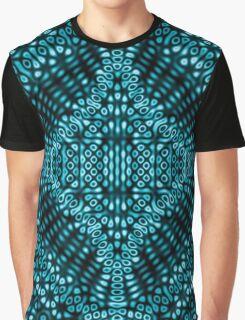 Teal Mind Warp Diffraction Pattern Graphic T-Shirt
