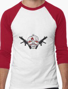 waffen maschinengewehr soldat erschießen ballern verteidigen dumm zombie gesicht kopf untot horror monster halloween  Men's Baseball ¾ T-Shirt